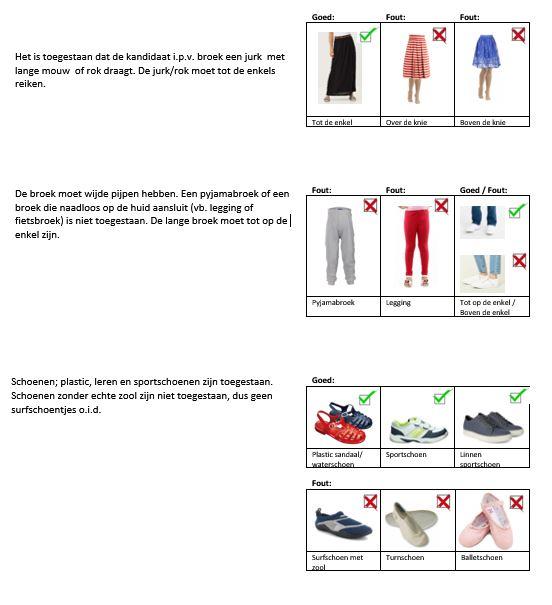 Voorbeelden kleding ABC goed en fout